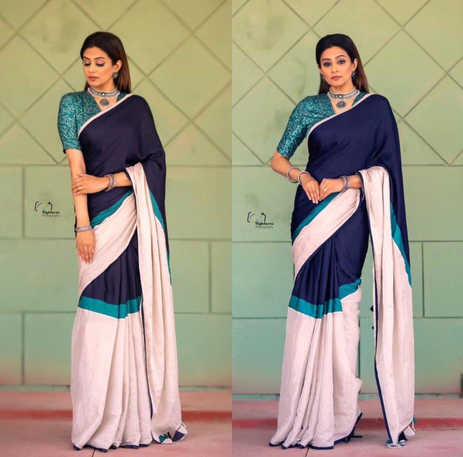 priyamani in color block saree