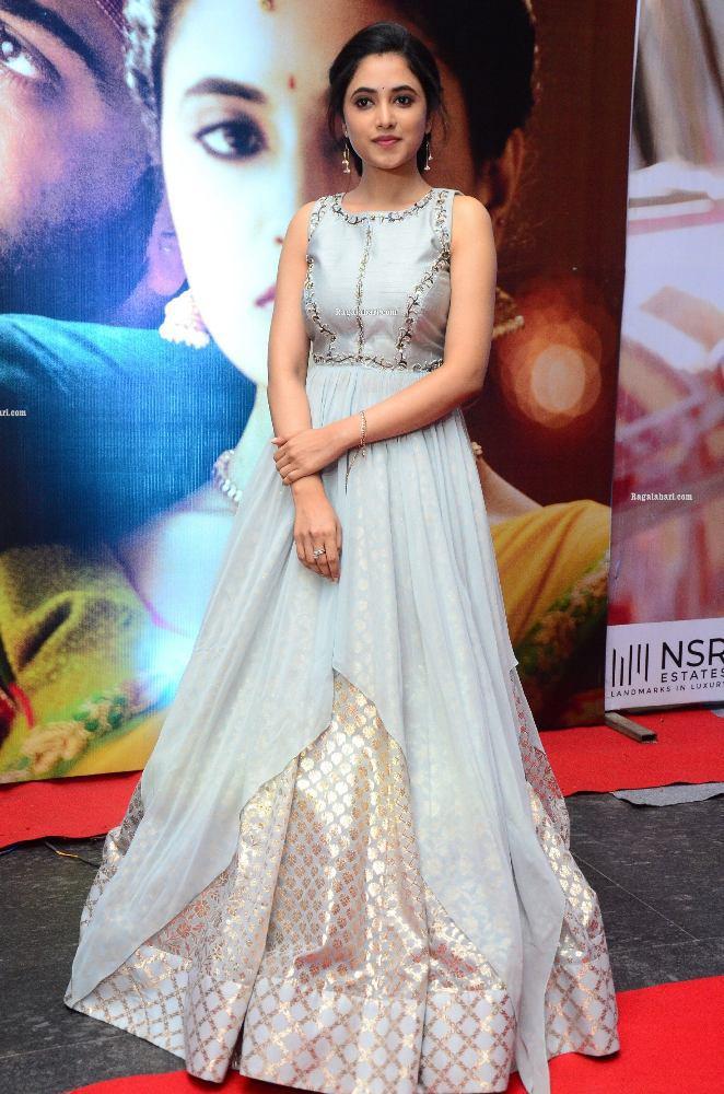 priyanka mohan in a sky blue long gown at sreekaram grand release