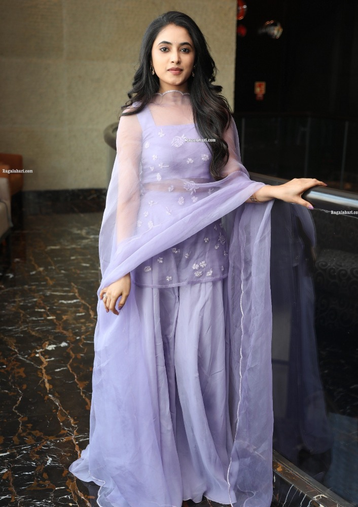 priyanka mohan in purple sharara set