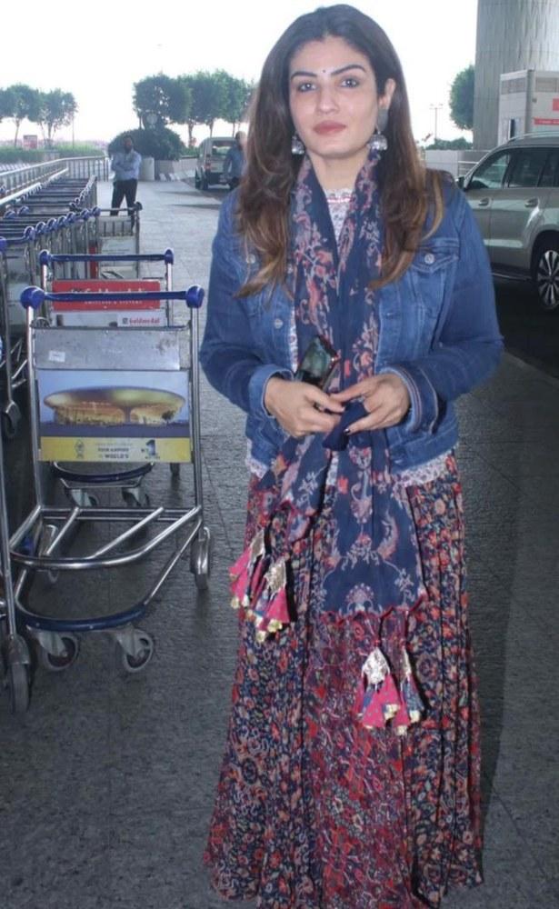 raveena tandon in long floral dress with denim jacket