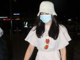 rashmika mandanna in beige short dress at airport