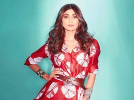 shilpa shetty kundra in red maxi dress by amrit kaur