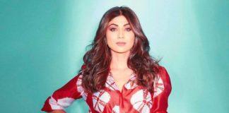 shilpa shetty kundra in red maxi dress by amrit kaur