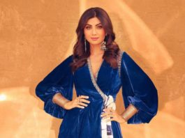 shilpa shetty in peplum jacket and pants from Reeti arneja