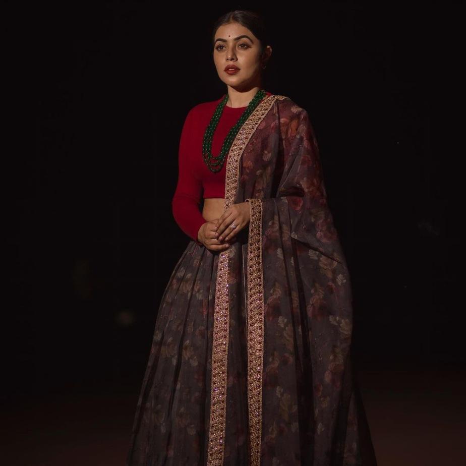 shamna kasim in printed skirt red crop top