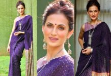 shilpa reddy in aubergine saree by kanaktala for Q and A-featured