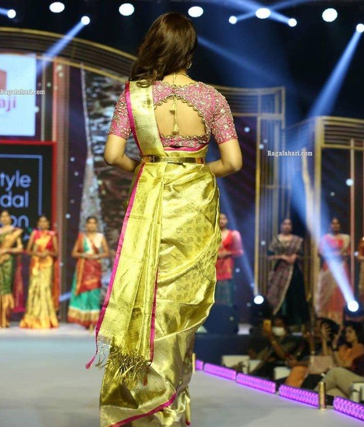 shraddha das at lifestyle and bridal fashion week in gold saree