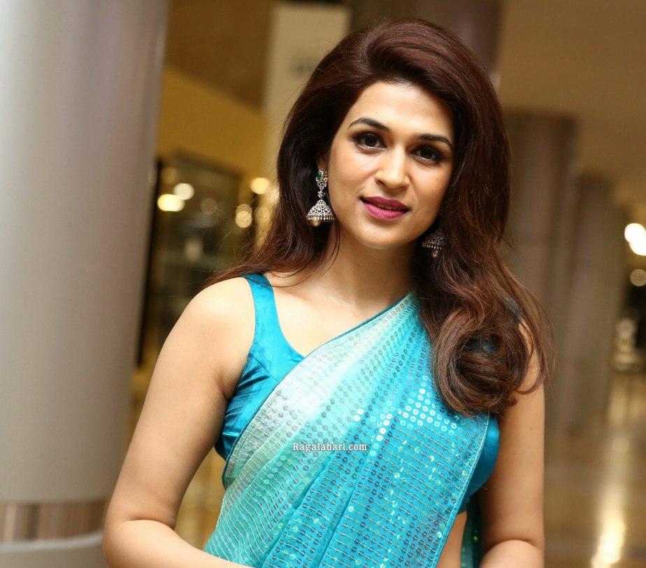 shraddha das in a sky blue sequin saree
