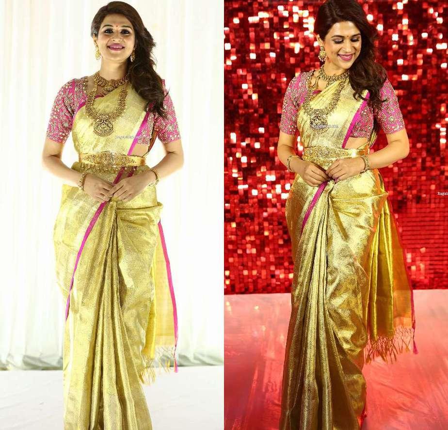 shraddha das in golden kanchipuram saree