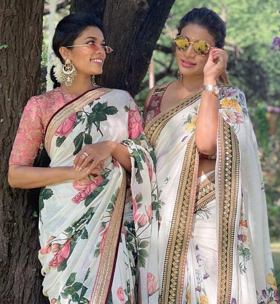 sreeja kalyan and sushmita konidela in matching floral sarees