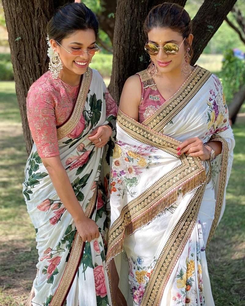 sreeja kalyan and sushmita konidela in matching sabyasachi floral sarees