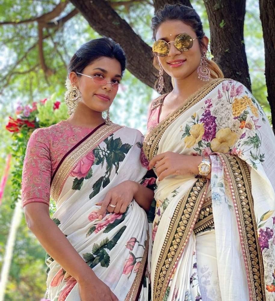 sreeja kalyan and sushmita konidela in sabyasachi sarees