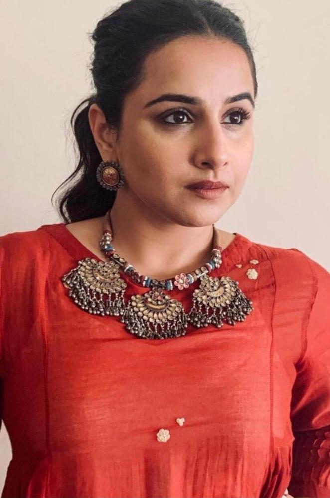 vidya balan in red dress from the label Ekadi