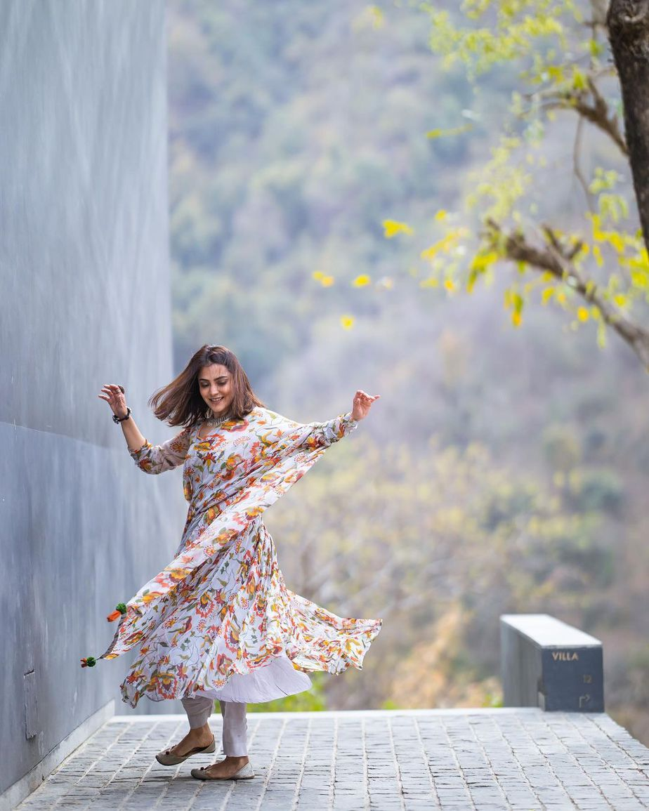nisha aggarwal in a floral anarkali suit
