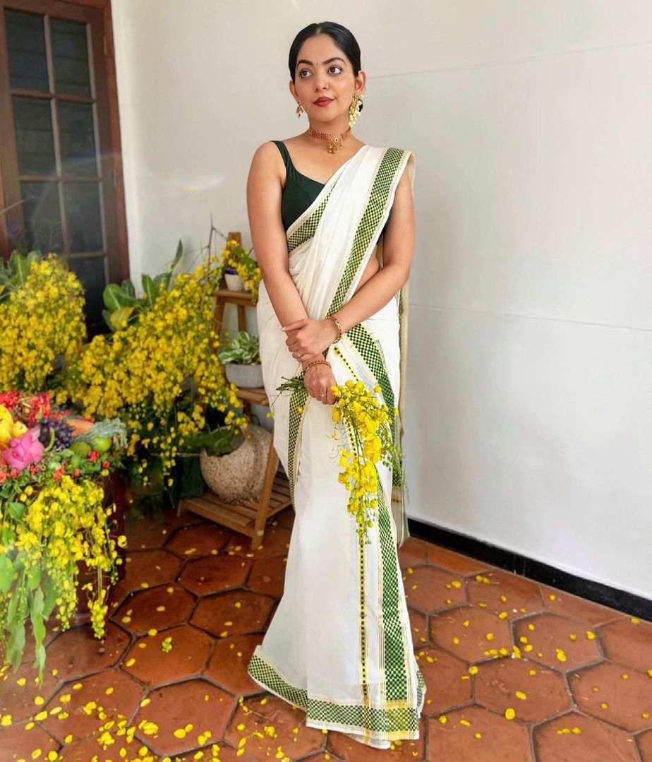 Ahaan Krishna in set mundu for Vishu