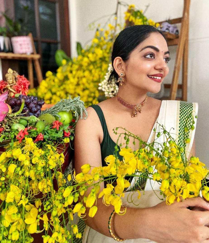 Ahaana Krishna in set mundu for Vishu-1