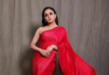 Amruta Khanvilkar in red saree by Tasavur for filmfare awards-1
