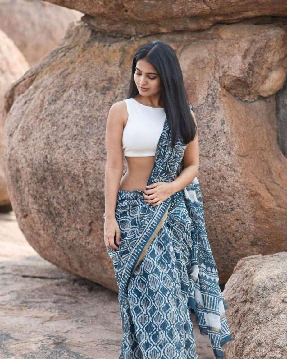 Ananya Nagalla in an indigo saree for unnati silks for ram navami