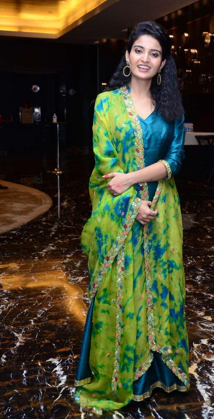 Ananya Nagalla in blue anarkali for vakeel saab promotions-1