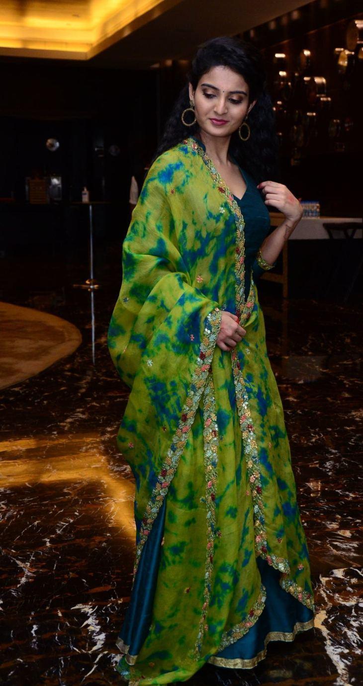 Ananya Nagalla in blue anarkali for vakeel saab promotions-2