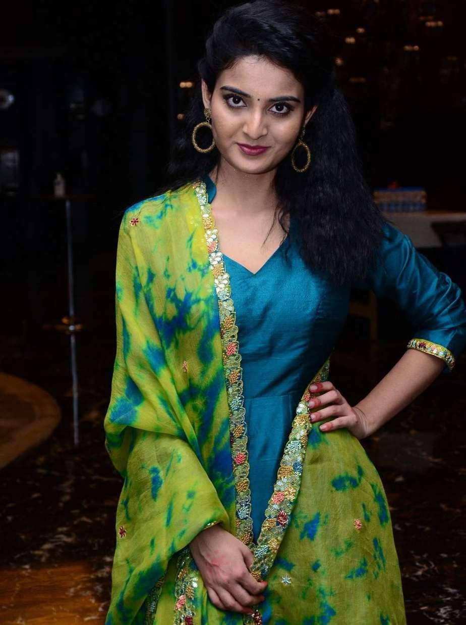 Ananya Nagalla in blue anarkali for vakeel saab promotions-4