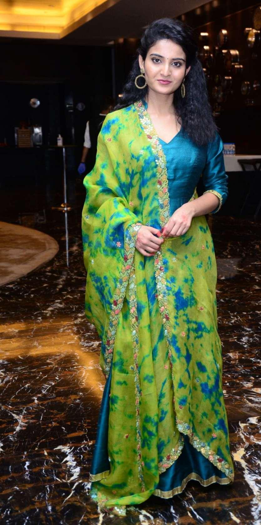 Ananya Nagalla in blue anarkali for vakeel saab promotions