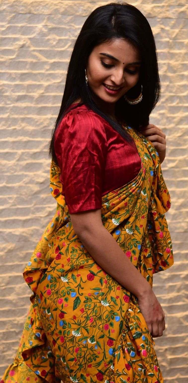 Ananya Nagalla in yellow ruffle saree for Vakeel Saab magavu nee Vijayam event