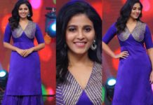 Anjali in blue kurta ghagra set by Raw mango for vakeel saab promtions-featured