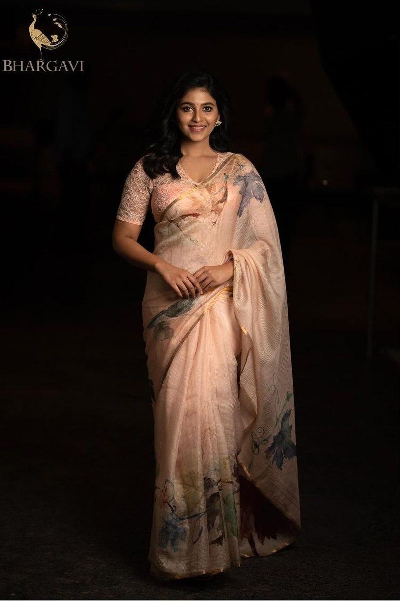Anjali in pastel saree by Bhargavi Kunam-1