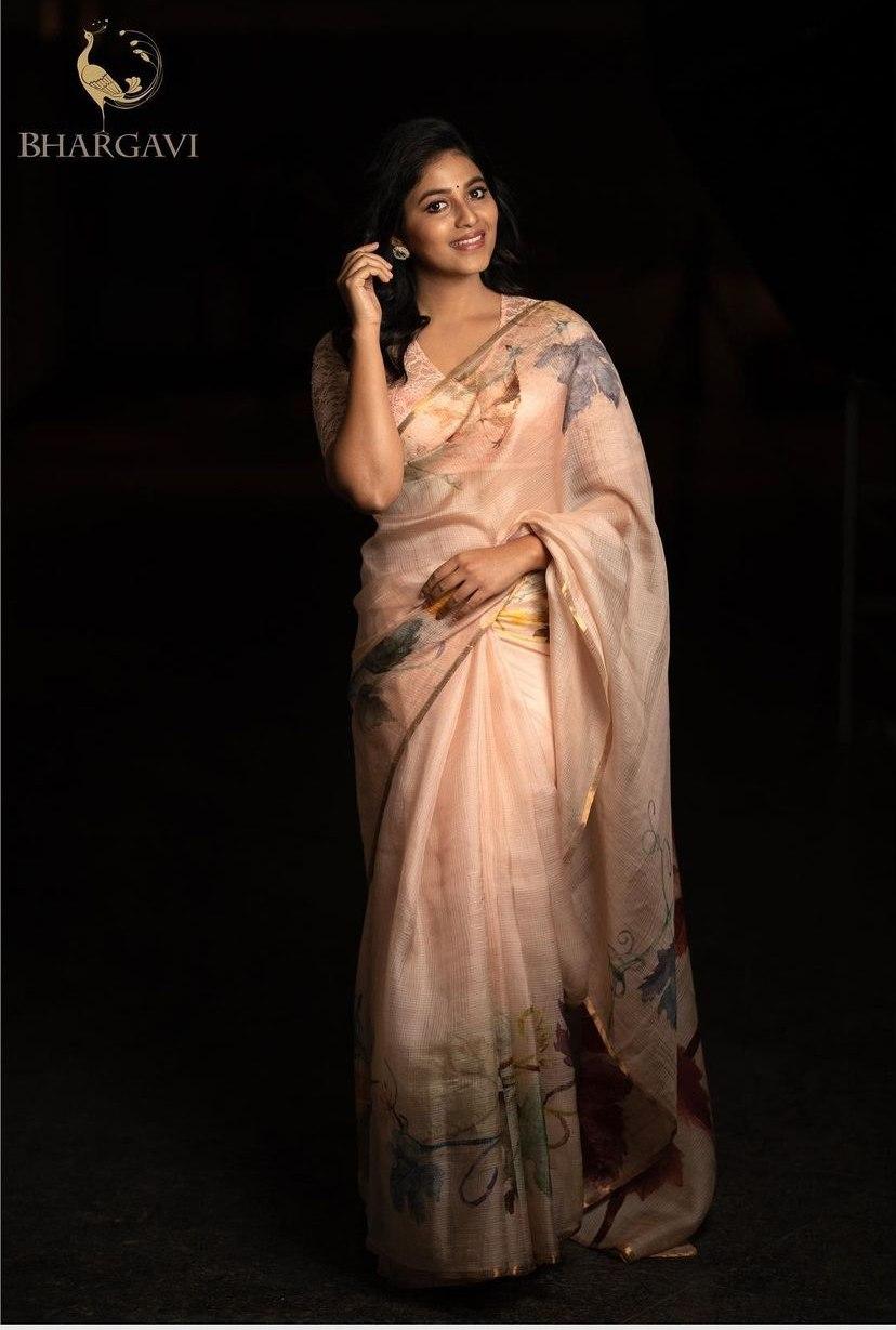 Anjali in pastel saree by Bhargavi Kunam