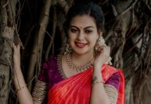 Anusree Nair in purple half saree by sabarinath for a wedding-1