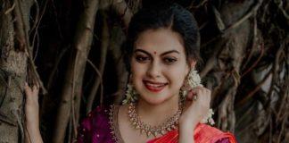 Anusree Nair in purple half saree by sabarinath for a wedding-1