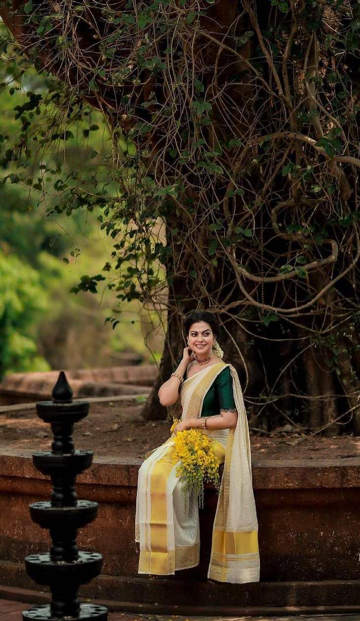 Anusree Nair in set mundu by Khajuraho for Vishu