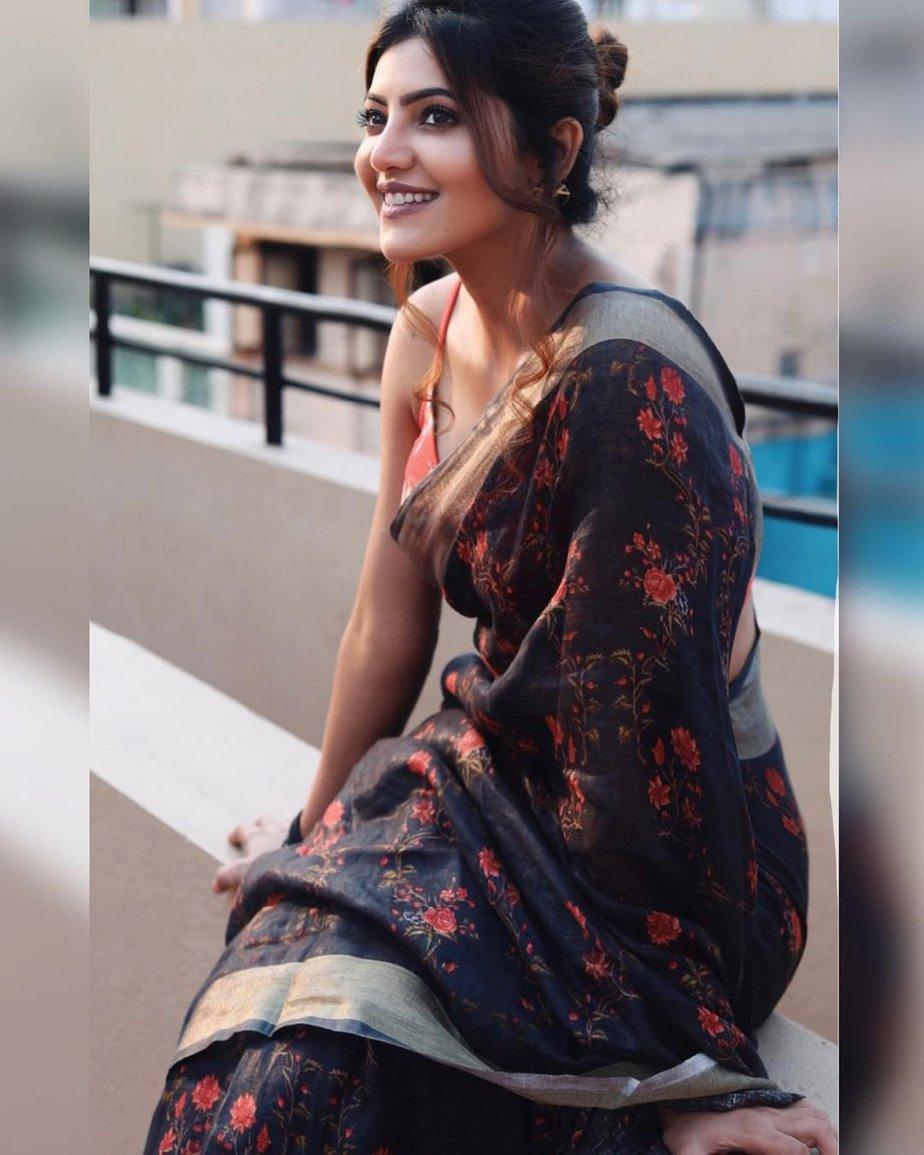 Athulya Ravi in a saree by elegant fashion