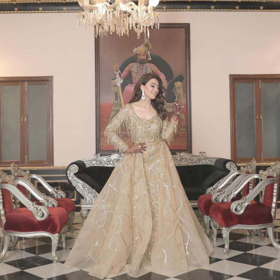 Hansika Motwani in chamapagne gold gown by Shivani avasthy for brother's sangeet-1
