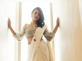 Hebah Patel in off white saree by tilfi