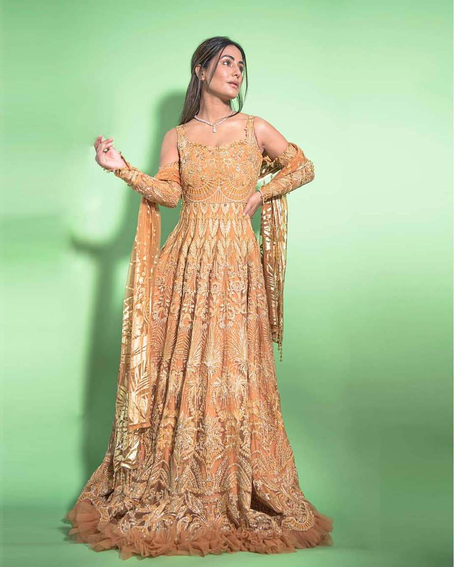 Hina Khan in bright yellow anarkali gown by reign-3