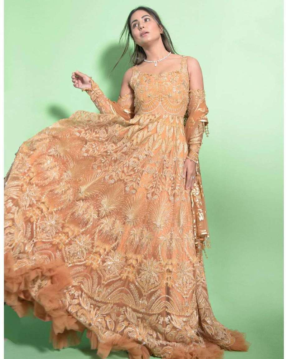 Hina Khan in bright yellow anarkali gown by reign
