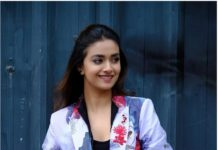 Keerthy Suresh in house of three mauve outfit for Rang de promotions-1