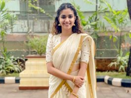 Keerthy Suresh in ivory half saree by poornima indrajith for guruvayur visit-2