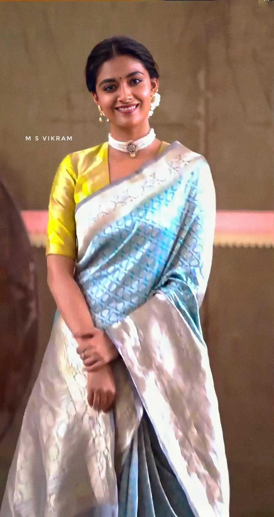 Keerthy Suresh in light blue pattu saree by Ruchi Munoth-1