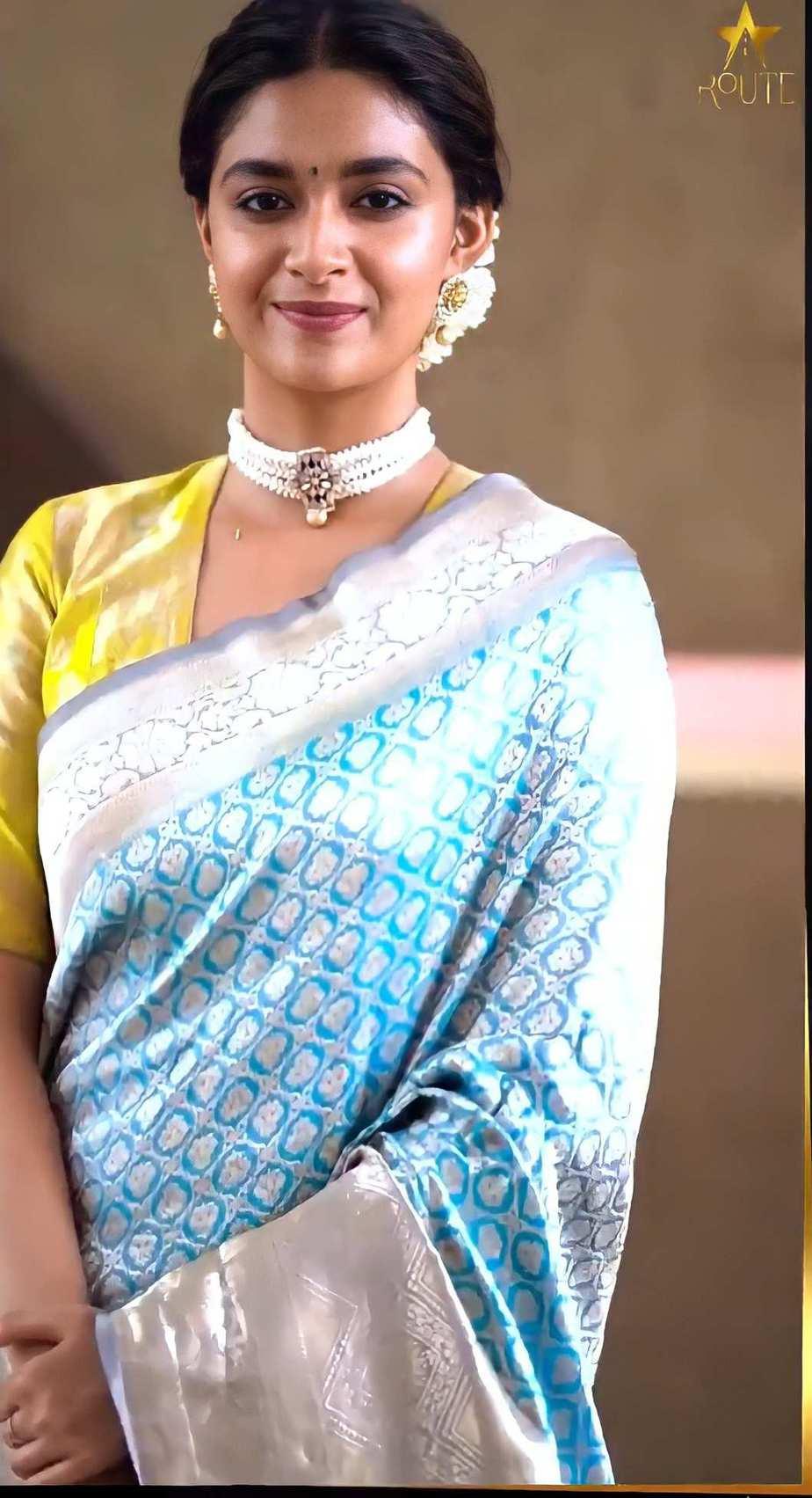 Keerthy Suresh in light blue pattu saree by Ruchi Munoth-2