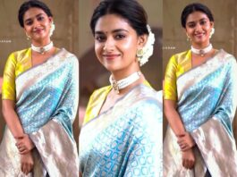 Keerthy Suresh in light blue pattu saree by Ruchi Munoth-featured