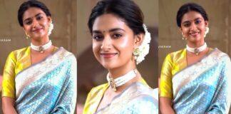Keerthy Suresh in light blue pattu saree by Ruchi Munoth-featured