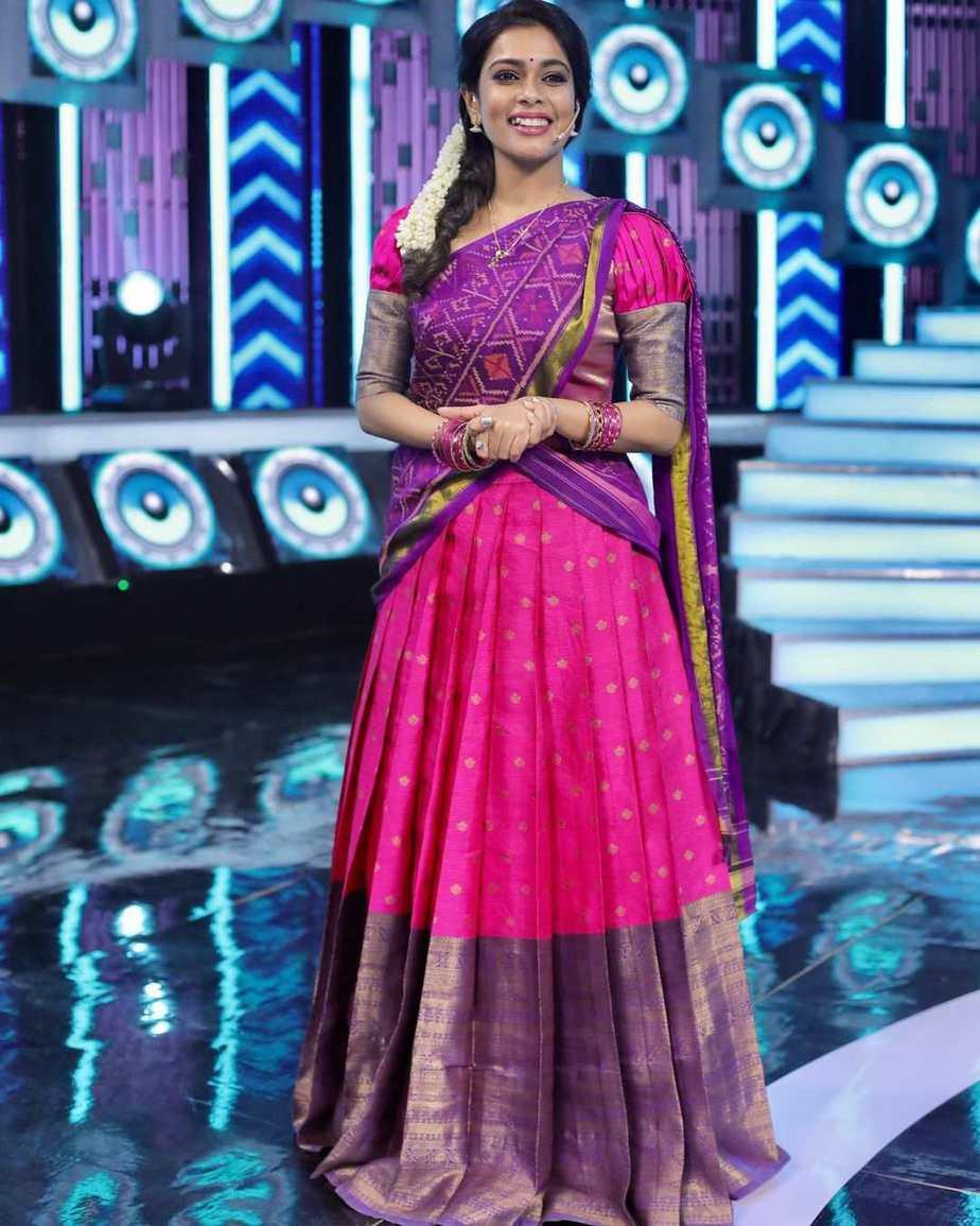 Kiki Vijay in pink half saree by Studio 149 for a tamil show-2