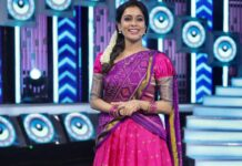 Kiki Vijay in pink half saree by Studio 149 for a tamil show-3