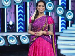 Kiki Vijay in pink half saree by Studio 149 for a tamil show-3