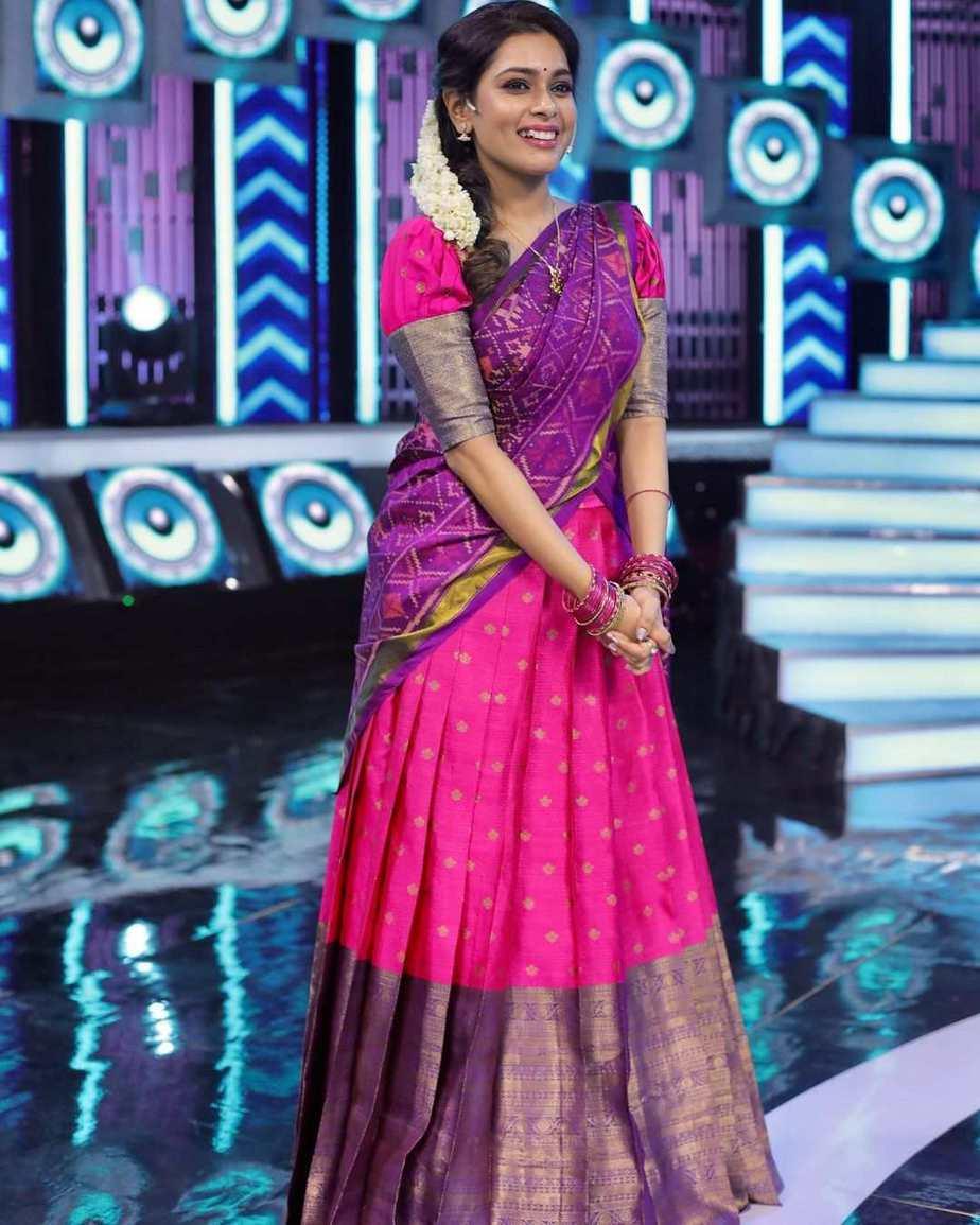 Kiki Vijay in pink half saree by Studio 149 for a tamil show