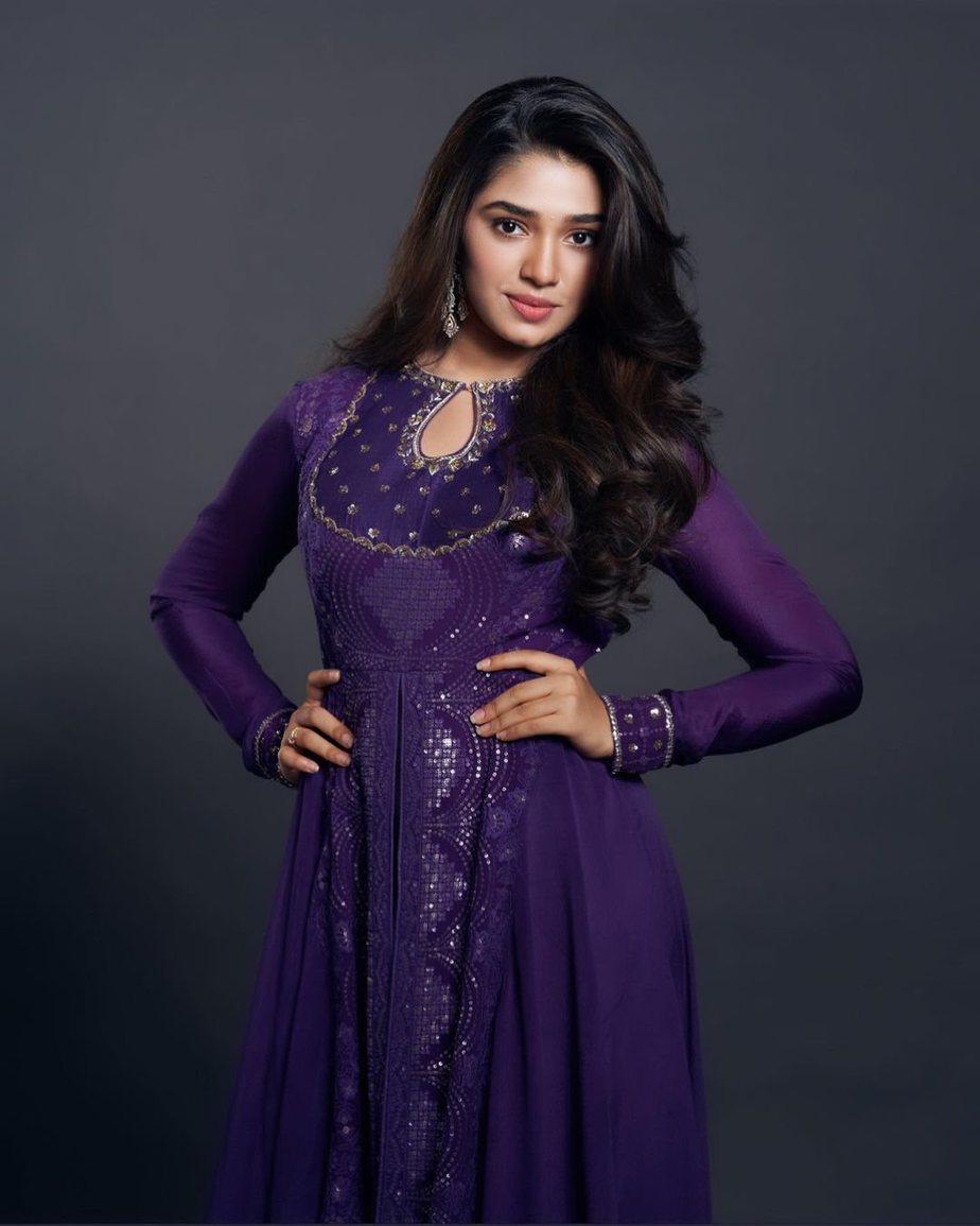 Krithi Shetty in purple anarkali by issa studio-1