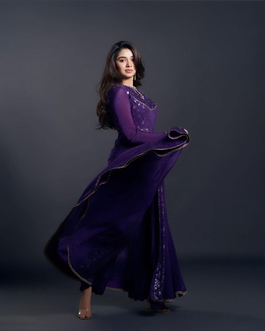 Krithi Shetty in purple anarkali by issa studio